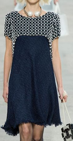 Chanel elegant casual knee length short sleeve dress | dual fabric - blue dress - frayed bottom - dotted top
