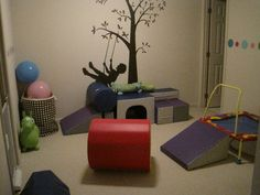 Rethinking the playroom! I like the idea of having toys in a designated spot in each room of the house--big toys in the playroom