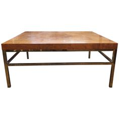 Burl Wood Coffee Table with Brass Base | From a unique collection of antique and modern coffee and cocktail tables at https://www.1stdibs.com/furniture/tables/coffee-tables-cocktail-tables/