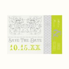 Wedding Invitation: Save the Date in Lime green and grey - fresh and modern colors for weddings.