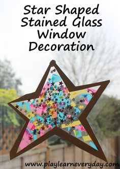 An easy to make star shaped stained glass window craft, a great decoration for New Years or any time of the year.