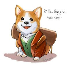 Fandom: Tolkien.  Bilbo Corgi by Kade