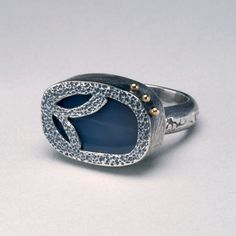 Agate Sterling Silver 925 and 18K Gold Ring by hammeredbywendy, $225.00