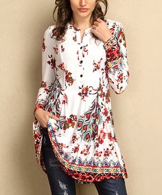 Take a look at this White & Red Peacock Button-Front Tunic - Plus today!