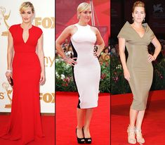 Kate Winslet Celebrated for her curvy figure (and amazing acting skills), the 35-year-old Oscar-winner has been looking more stunning than ever on the red carpet in an array of figure-hugging dresses.