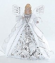 Porcelain Angel with White and Silver Gown Christmas Tree Topper 14 Christmas Tree Fairy, Ghost Of Christmas Past, Angel Christmas Tree Topper, Christmas Angels, Christmas Themes, Christmas Holidays, Christmas Crafts, Christmas Decorations, Diy Tree Topper