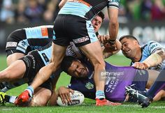 Jesse Bromwich of the Storm scores a try during the round 26 NRL match between…