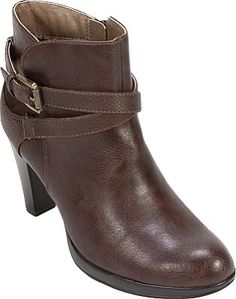 Rialto Shoes - Classy and sophisticated, Rialto's Pamela Ankle Boot features an exotic printed criss-cross strap and a metallic buckle. With a full zipper and a chunky stacked heel, this versatile boot will add effortless style to your look. - #rialtoshoes #brownshoes