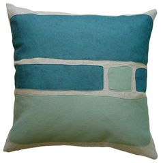 Felt Appliqué Linen Pillow - Big Block, Brook/Loden, 22x22 modern pillows