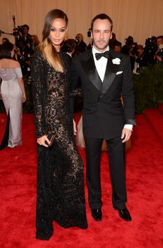 Met Gala 2013 - why so serious? Tom Ford looks amazing as always with his double buttoned tuxedo.