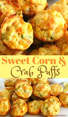 Sweet Corn And Crab Puffs Crab Appetizer, Seafood Appetizers, Finger Food Appetizers, Yummy Appetizers, Finger Foods, Appetizer Recipes, Dinner Recipes, Appetizer Dessert, Heavy Appetizers