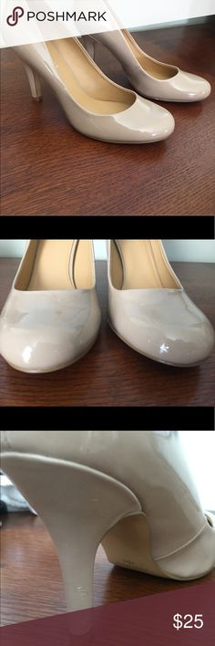 Nine West nude pumps Nine West patent leather pumps, barely worn. Please see pictures to see small scuffs. Nine West Shoes Heels