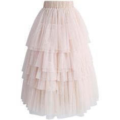 Chicwish Love Me More Layered Tulle Skirt in Nude Pink (15.495 HUF) ❤ liked on Polyvore featuring skirts, pink, double layer skirt, tulle skirts, pink knee length skirt, knee length tulle skirt and multi layered skirt