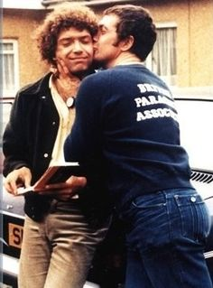 The Professionals' Lewis Collins and Martin Shaw goofing around off screen. Well, mostly Lewis, it seems :)