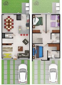 Wall in kitchen and move living room where dining room is Duplex House Plans, Duplex House Design, Small House Design, Dream House Plans, Modern House Plans, Small House Plans, House Floor Plans, House Construction Plan, Home Design Floor Plans