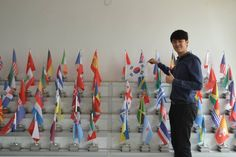 Our Korean volunteer Jae Keun displaying some pride for his country while helping out in Freetown, Sierra Leone!