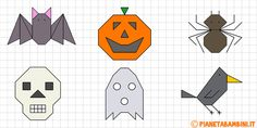 cornicette di halloween a quadretti da disegnare e colorare Graph Paper Drawings, Graph Paper Art, Halloween Words, Halloween Design, Pixel Drawing, Blackwork Patterns, Doodle Designs, English Paper Piecing, Halloween Activities