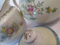 Vintage Mismatched China Sugar and Creamer Set