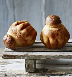 Brioche à tête (or parisienne) is a brioche baked into a fluted round tin with a ball of dough placed on top to form the 'head', the tête. Great for brunch with a strong coffee
