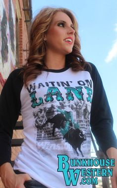 Crazy Train, Black and White Baseball Tee, Waitin On Lane, Turquoise Print, Bull Rider, Lane Frost, 8 Seconds, Professional Bull Riding, $37.98, http://www.bunkhousewestern.com/7649_p/7649.htm