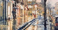 Cheltenham (Montpellier) in the Rain watercolor, Robert Goldsmith   Painting in the street.   Pinterest   Montpellier, Robert Ri'chard and The Rain