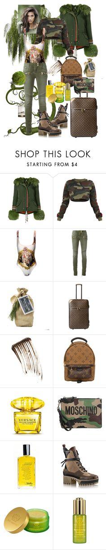 """Green is Gold!!!"" by bm-bojanamilanovic ❤ liked on Polyvore featuring Alessandra Chamonix, Versace, Balmain, Louis Vuitton, Illamasqua, Moschino, Shiffa and Tata Harper"