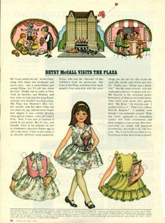 Vintage April 1972 Magazine Paper Doll Betsy McCall Visits the Plaza