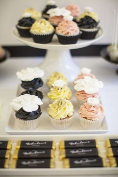 Cupcakes and candy at a Chanel birthday party! See more party planning ideas at CatchMyParty.com!