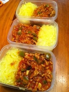 Grilled BLT Meat Sauce and Spaghetti Squash... this sauce is AMAZING!! #Paleo comfort food at it's finest and only 225 calories for a huge serving. #twentysomethingandpaleo