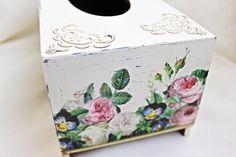 Shabby chic Tissue box cover wooden decoupage box tissue box