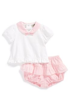 Armani Junior Peter Pan Collar Top & Ruffle Bloomers (Baby Girls) available at #Nordstrom