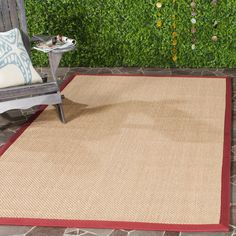 Natural Fiber Maize/Burgundy (Yellow/Red) 9 ft. x 12 ft. Area Rug