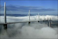 The Millau Viaduct is a cable-stayed road-bridge that spans the valley of the river Tarn near Millau in southern France. Designed by the French structural engineer Michel Virlogeux and British architect Norman Foster, it is the tallest bridge in the world. Absolutely amazing engineering!