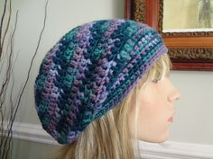 Lavender, Lilac, Teal, Turquoise, Green Crochet Slouchy, Tam Hat, Cap, Snood, Beret.  Teens, Men or Women can Wear This. by yarnnscents on Etsy
