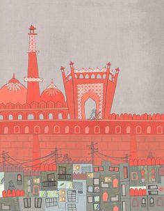 Purani Dilli, Old Delhi - A Postcard from India Art Print