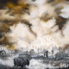 Smoldering Urban Landscape Paintings Show Beauty in Decay - Brian Mashburn