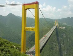 The Siduhe River Bridge in China is the world's tallest (and probably most frightening) bridge in the world at 460m above ground [IG]