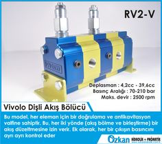 ÖZKAN HİDROLİK PNÖMATİK  Vivolo Flow Divider Group 2 RV2-V In this version the flow divider has one phase correction and anticavitation valve for each element, this allow a flow correction in both direction (flow division and flow unification). In addition it can adjust the relief pressure to a different value for each element.  Displacements from 4.2 cm3 / revolution to 39.6 cm3/revolution. Maximum pressures up to 210 bar. Rotation speeds up to 2500 rpm.  Vivoil Oleodinamica Vivolo