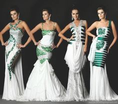 White wedding dress with emerald green sequin accents by Walid Atallah couture collection 2010