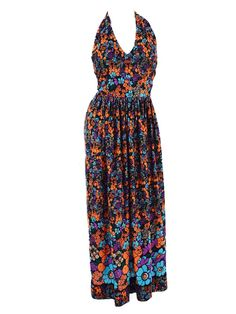 f201694142b 70s floral border print halter style maxi dress.  70smaxidresses   70shalterdress Printed Maxi Skirts. Blue Velvet Vintage