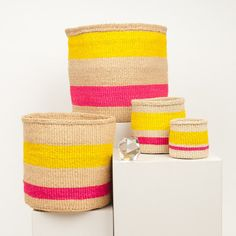 MAZAO: Fluoro Pink & Yellow Woven Storage Basket