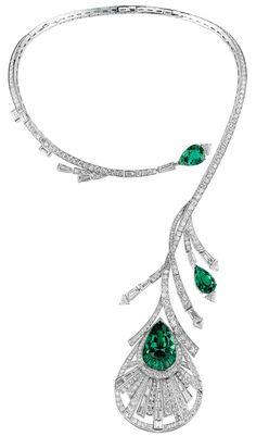 Boucheron Plume de Paon emerald and diamond necklace.
