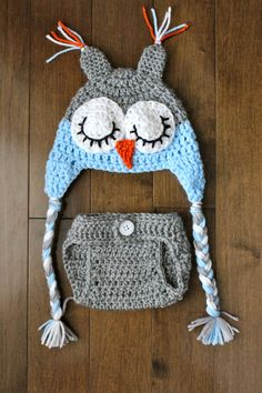 Hoot Hoot ... SLEEPY OWL SET - hat and diaper cover for boy in greg and blue -photography prop- baby shower gift. $35.00, via Etsy.