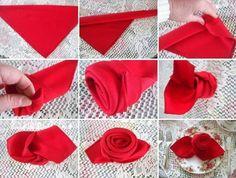 comment plier une serviette en tissu en forme de rose rouge