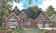 The Langley, Plan 963 A hipped roof and varying gable heights give this house plan a large feel. Inside, twelve-foot ceilings