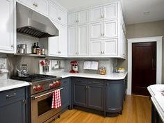 Two-toned kitchen cabinets can add visual interest to your cooking space.