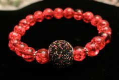 Handmade Hot Pink with Black Bead Accent  Bracelet- Accessory - One of a Kind - Affordable jewelry - Women - Teens - Gift - Silver tone -
