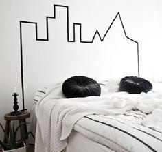 cabeceira de cama feita com washi tape