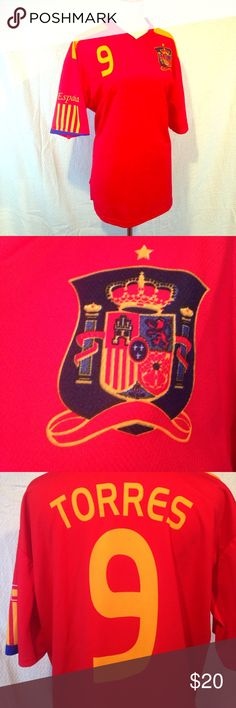XL Torres Spain Jersey This copy of an extra-large TORRES Spain jersey is in use condition. Had to sew up a written under the armpit, but still looks really nice. Purchased in Italy and not a certified copy. As such, it is reflected in the price. Please see photos. Please ask any questions before purchasing Tops Tees - Short Sleeve
