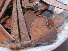 plate full of rusty metal